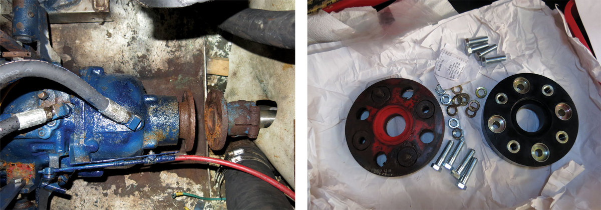 The transmission and shaft with the coupling removed