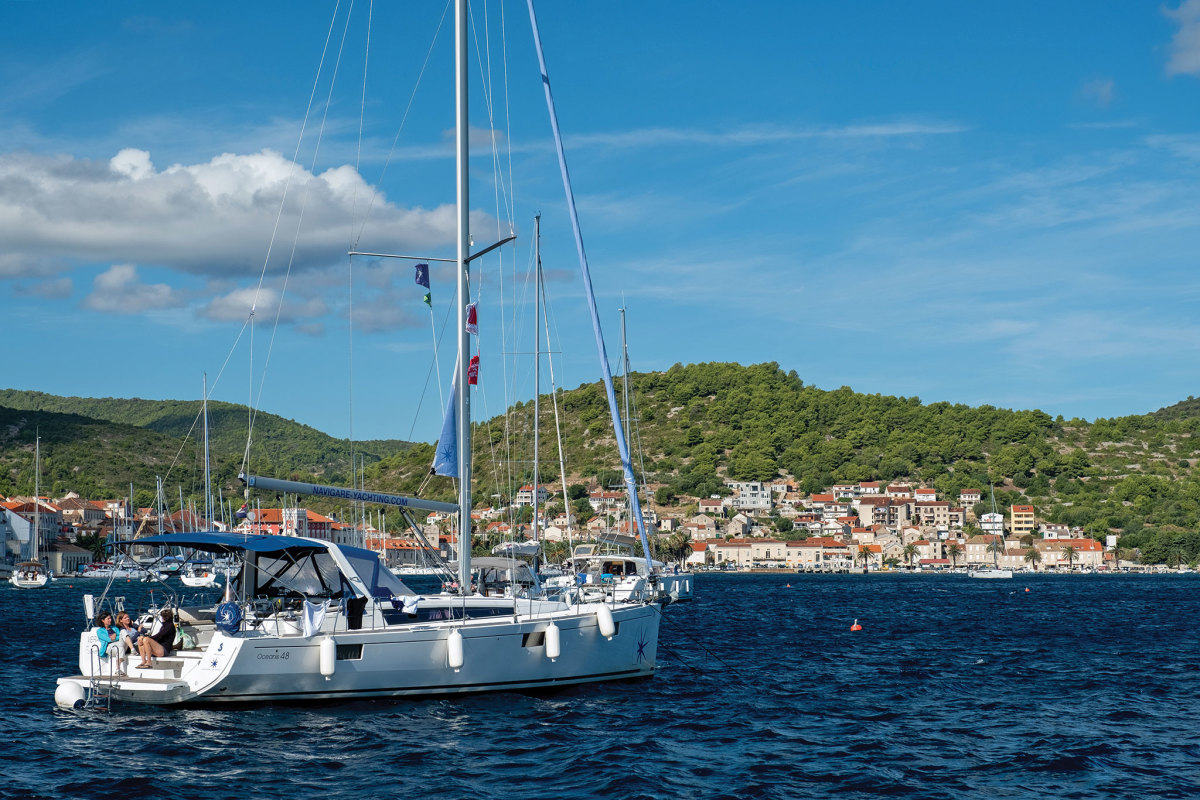 A fellow cruiser at anchor in the harbor at Vis