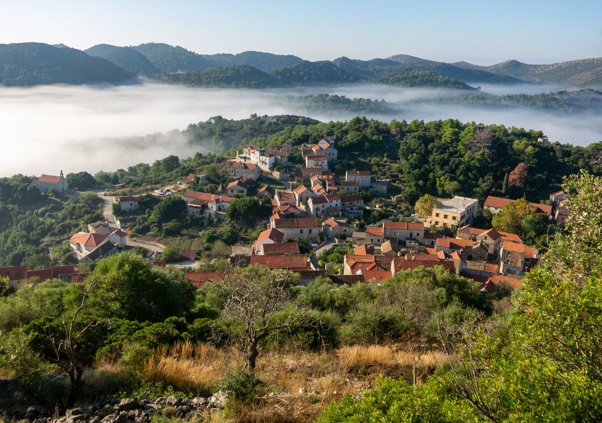 The town of Lastovo sits nestled among the hills