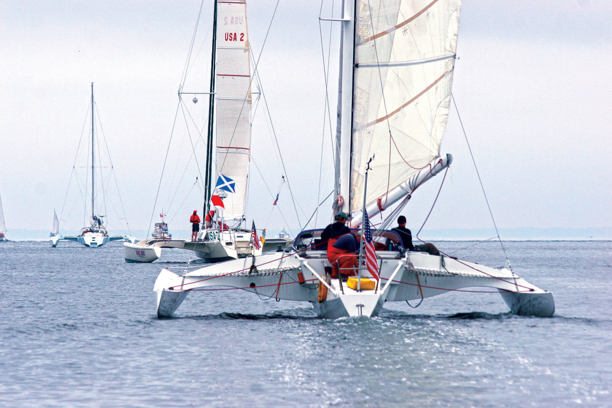 A portion of the multihull fleets heads for the line prior to the 2005 Marion-Bermuda