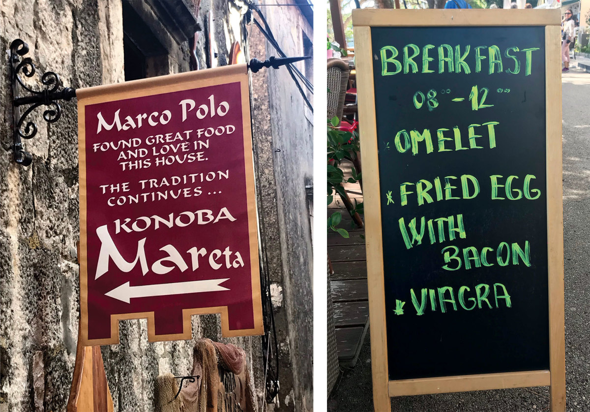 Korcula makes much of its Marco Polo connection (left) and offers interesting breakfast menus (right)