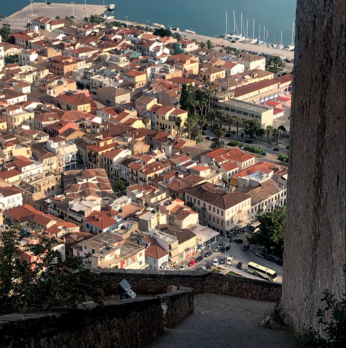 There's nothing like a relaxing walk up 1,000 steps to the top of the hill above the town of Naplion