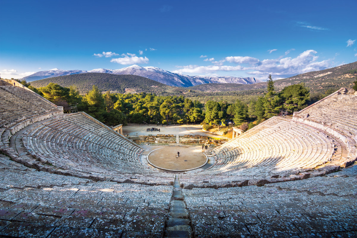 The ancient amphitheater at Epidavros can seat 14,000 and is still used for performances