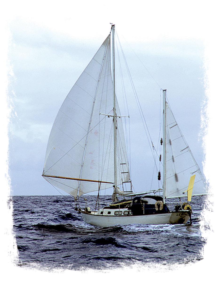 Bebinka under full sail in fair weather