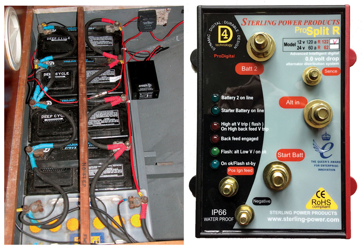 If you've bought an older boat with a battery bank like this, you'll no doubt be looking at upgrading (left); Some charge splitters cause a voltage drop—others, like this one, do not (right).