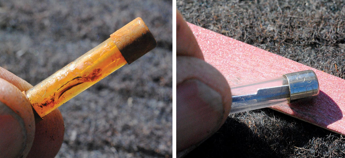 This corroded fuse was having a major impact on performance (left); Cleaning it up again was a piece of cake (right).