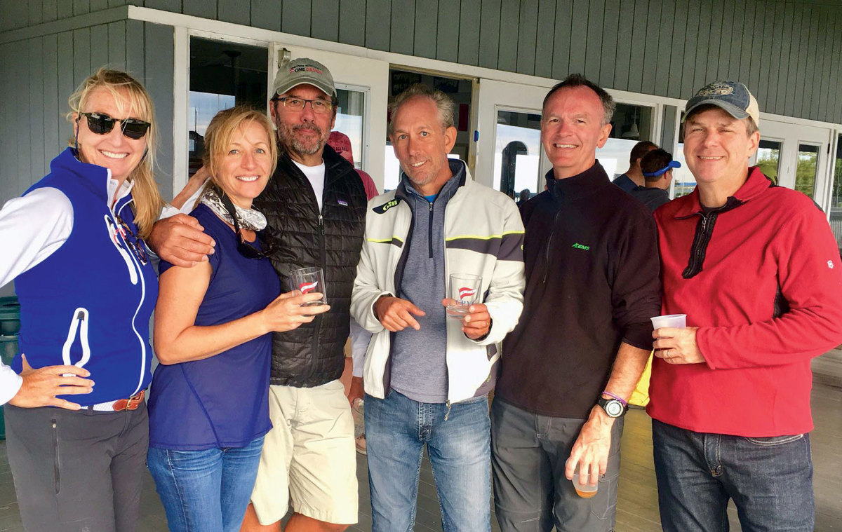 The crew (from left) Annie Cowherd, Julie Carpenter, Adrian Little, Marcus Carpenter, Brian Williams and Peter Kolf enjoy the afterglow of another well-sailed race