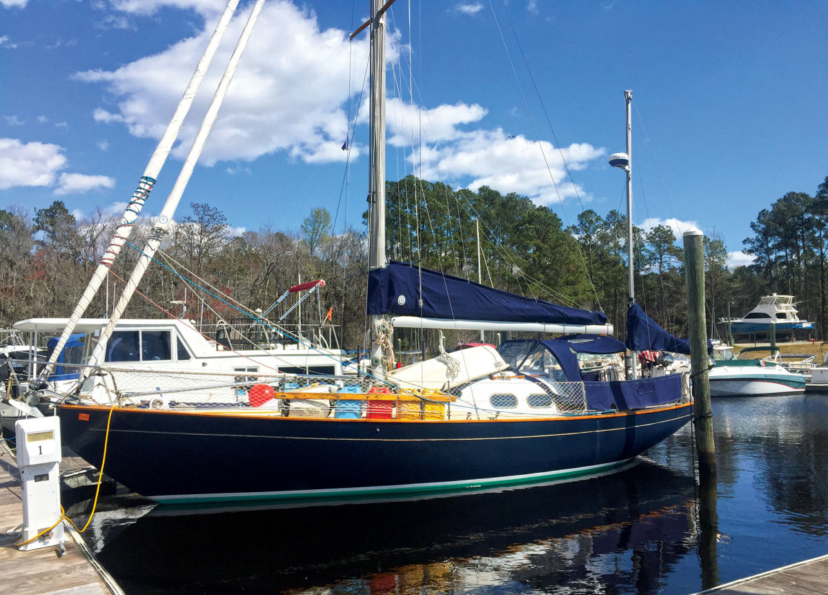 The Pearson Invicta yawl Scout takes a rest in Myrtle Beach, South Carolina