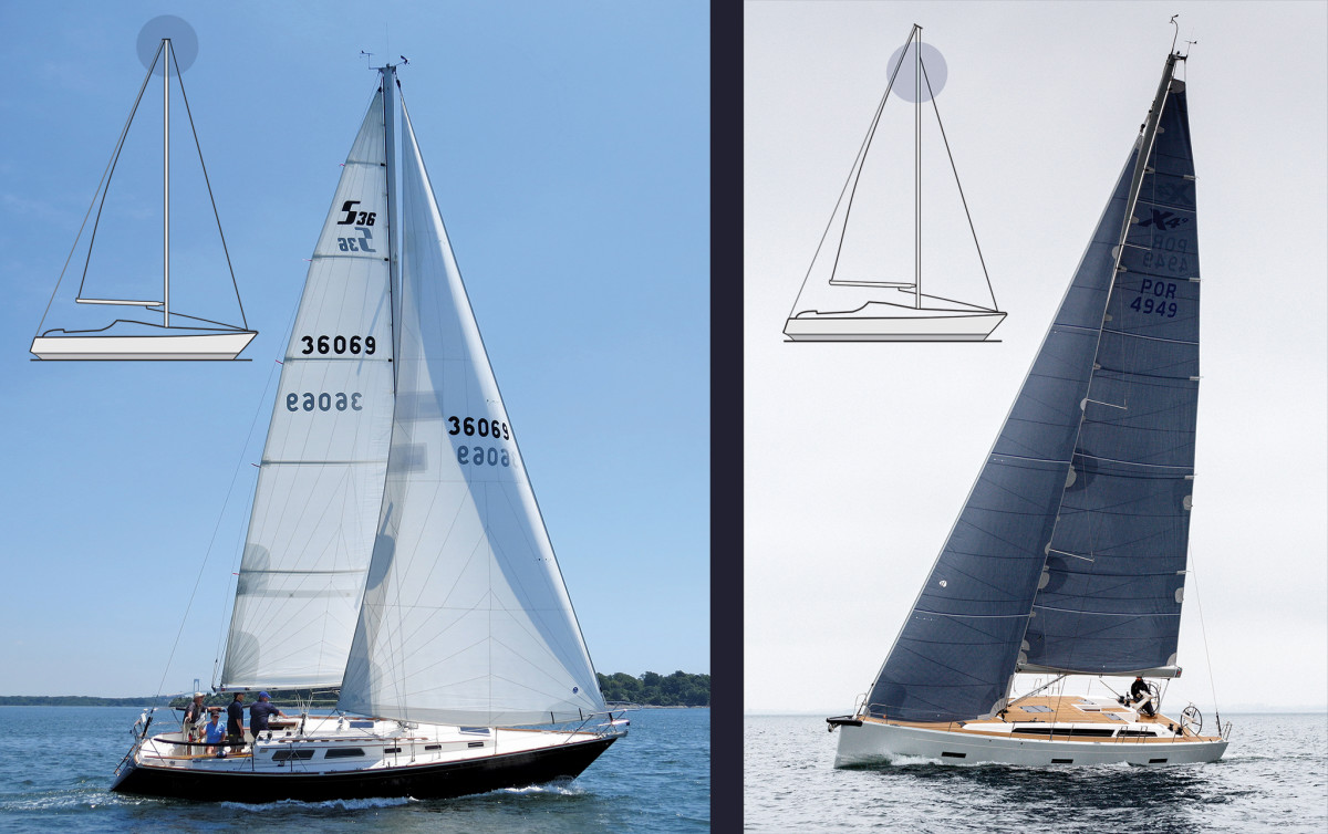 This classic Sabre carries the kind of masthead rig typical of its era; note how the large genoa sheets outside the shrouds (left); This X-Yachts performance-cruiser provides an excellent example of a modern fractional rig; note the narrow headsail (right).