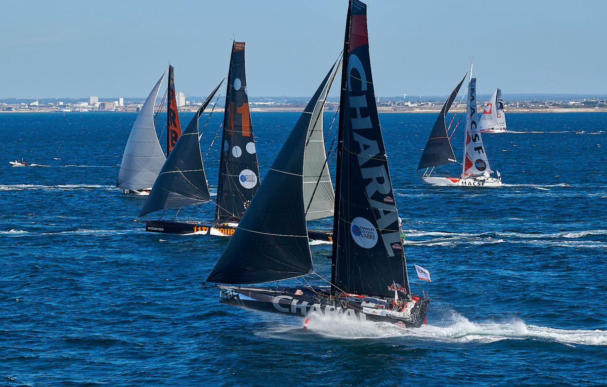 The IMOCA 60 fleet at the start of the Transat Jacques Vabre