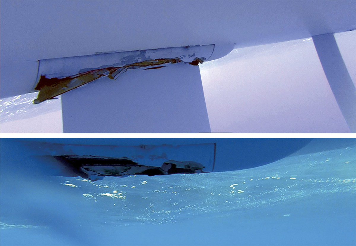 Now you see it (the damaged keel at top) now you don't (below)
