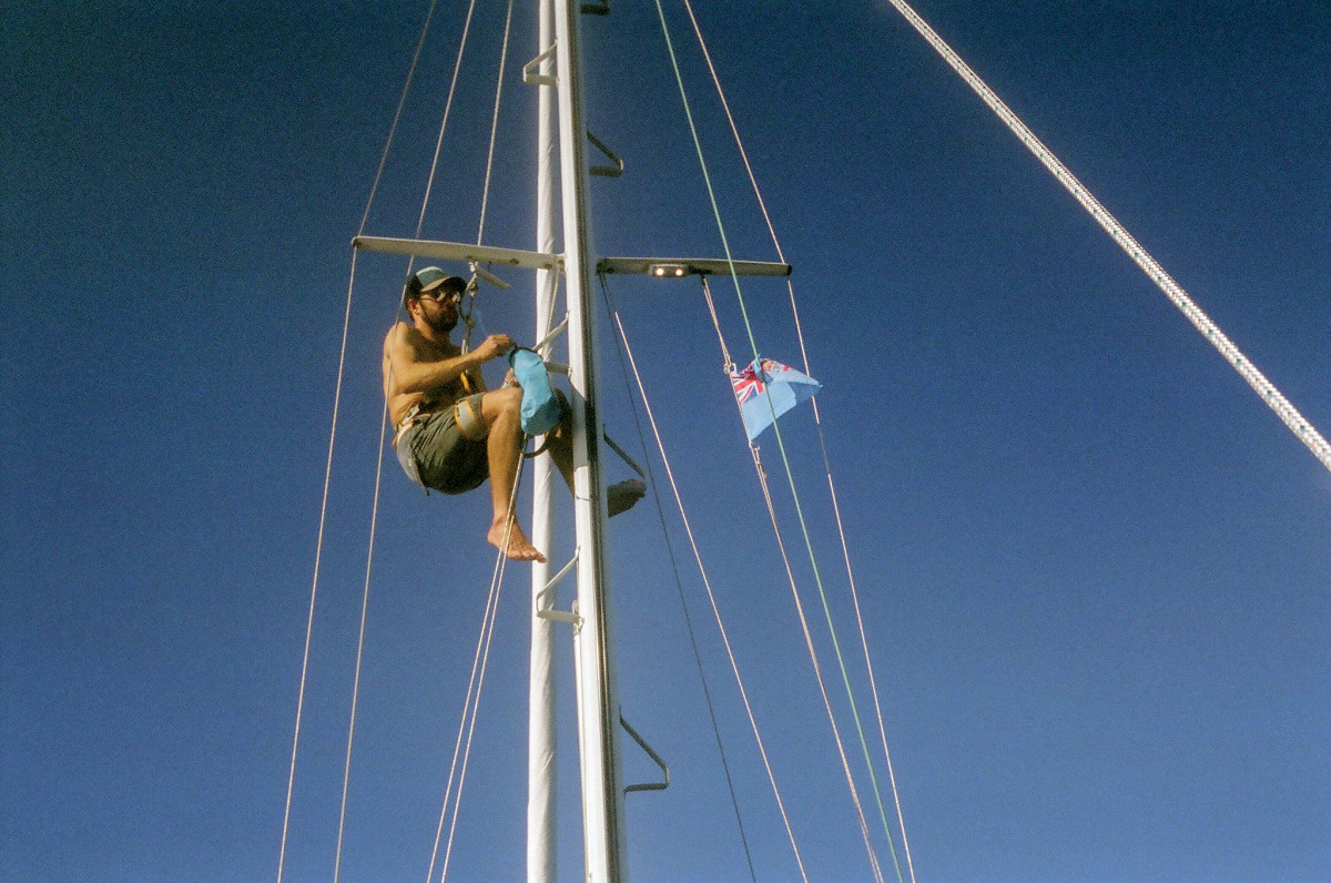 Everything is a good deal easier aboard a smaller boat, including climbing the mast