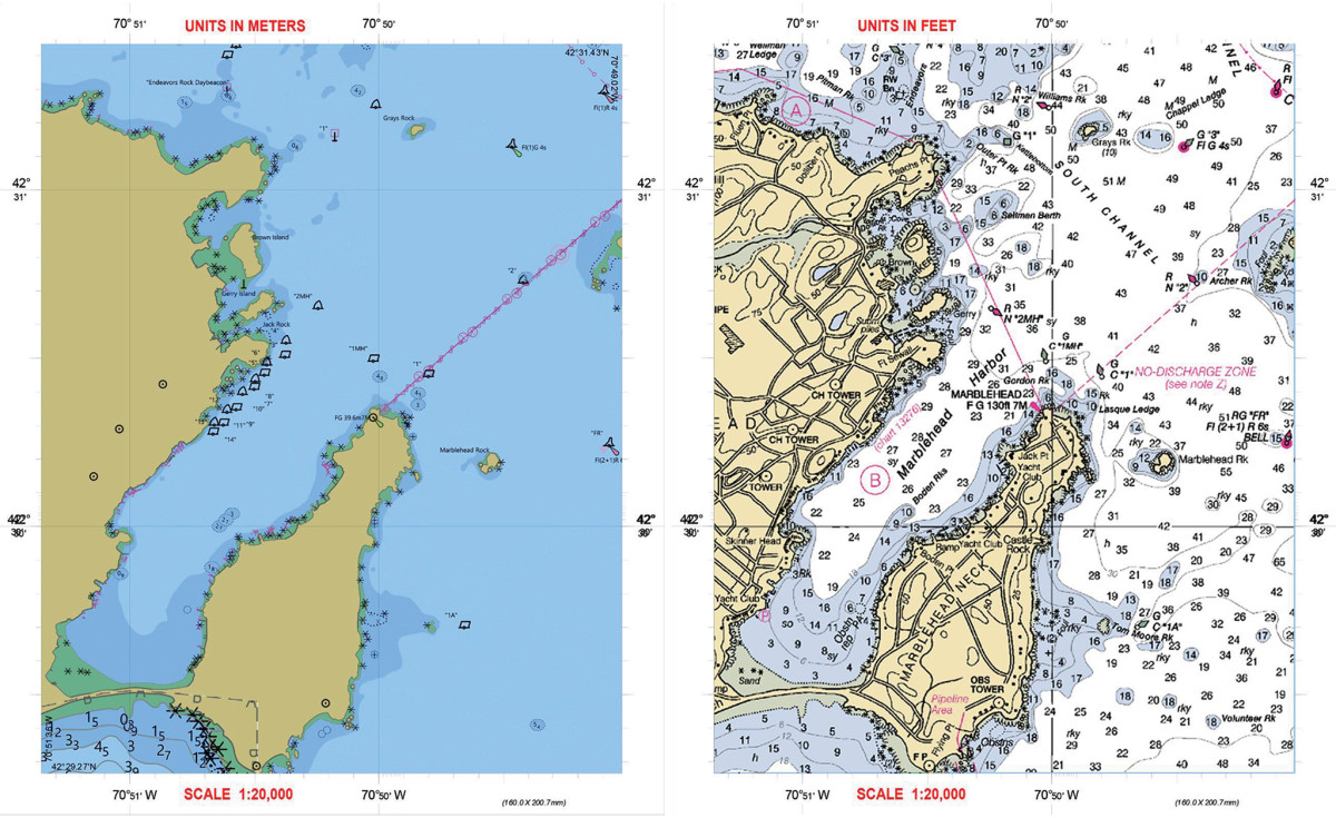 Two views of the harbor and neck in Marblehead, Massachusetts: the view at left is a screen grab from an ENC chart; the view at right is screen grab from a raster chart, the same electronic chart type used in the creation of printed charts, and which is no longer going to be updated by the National Oceanic and Atmospheric Administration (NOAA)