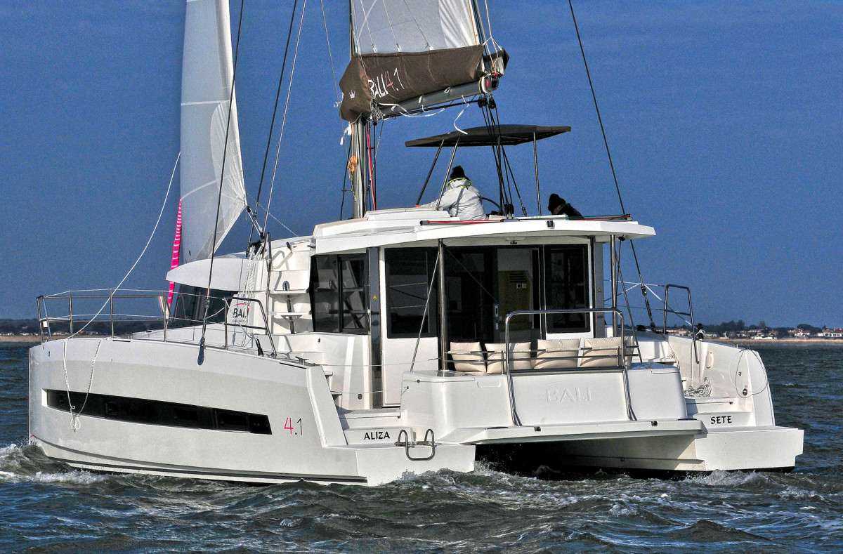There's great visibility in every direction from the flybridge aboard this Bali 4.1