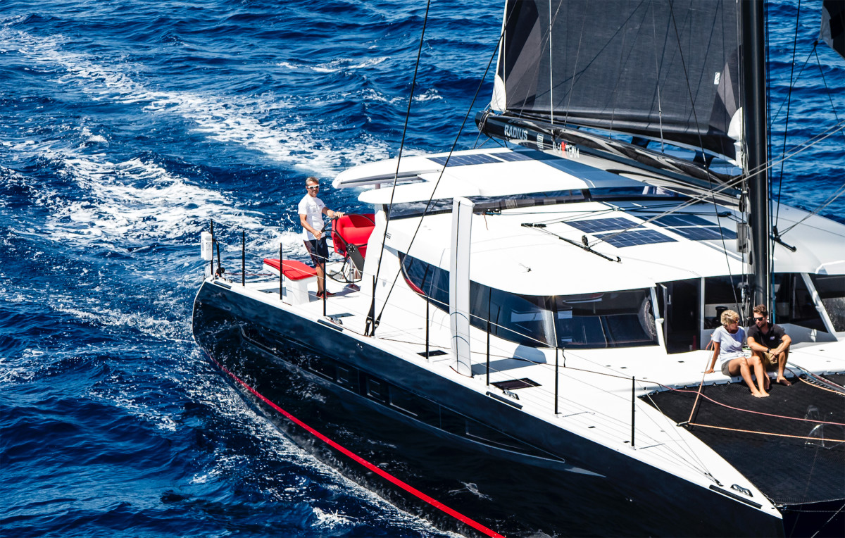 The outboard helms aboard this HH66 provide clear views forward and aloft