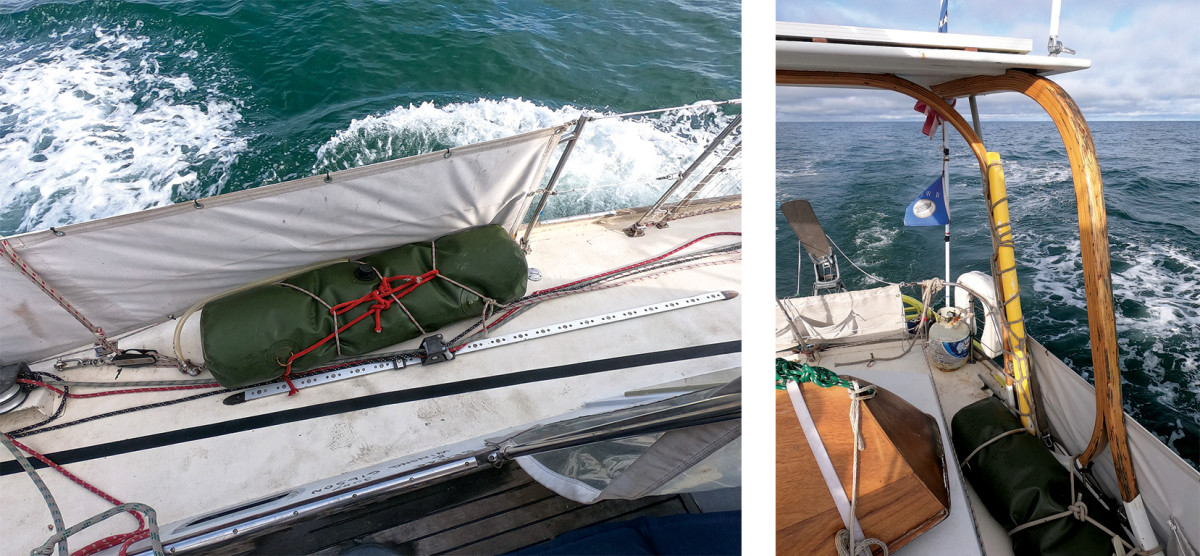 The fuel bladders' rings were not to be trusted (left);The author used a series of marline hitches to secure the sprit to the stern arch (right).