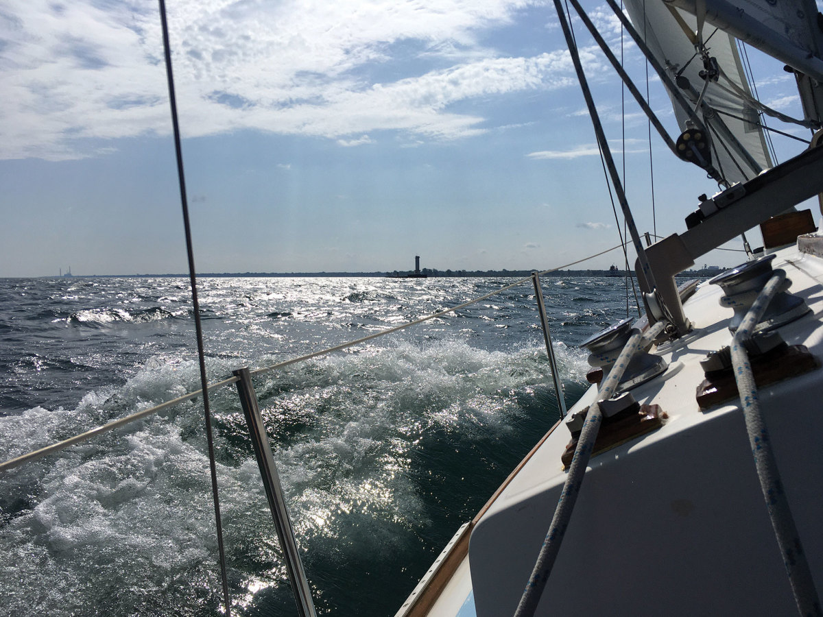 Landfall, with the entrance to Lorain harbor dead ahead