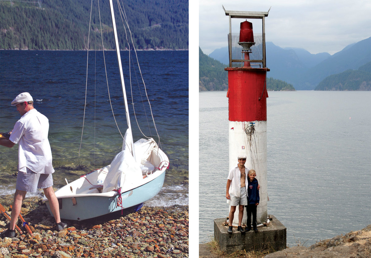 The author prepares to make sail (left); exploring ashore (right)