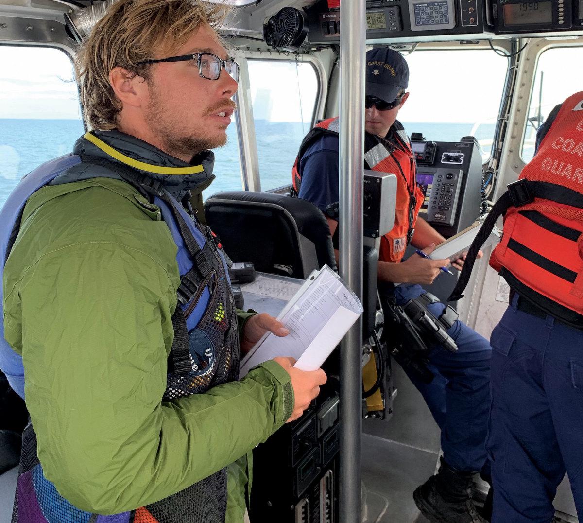 The author in hot pursuit of his lost catamaran