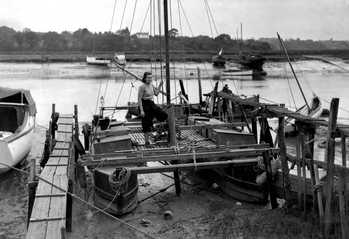 Ruth aboard Tangaroa shortly after the boat's initial launch