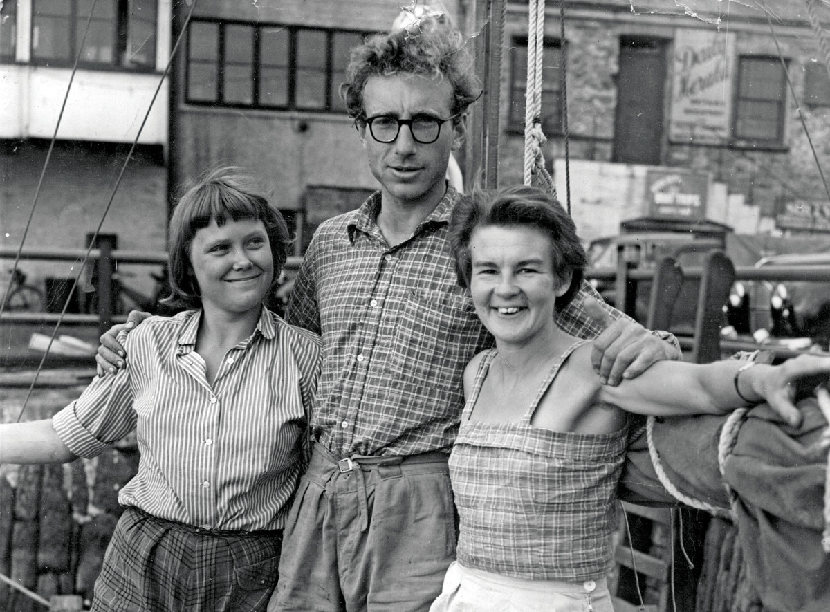 From left: Jutta, Wharram and Ruth take a break from prepping for their transatlantic voyage