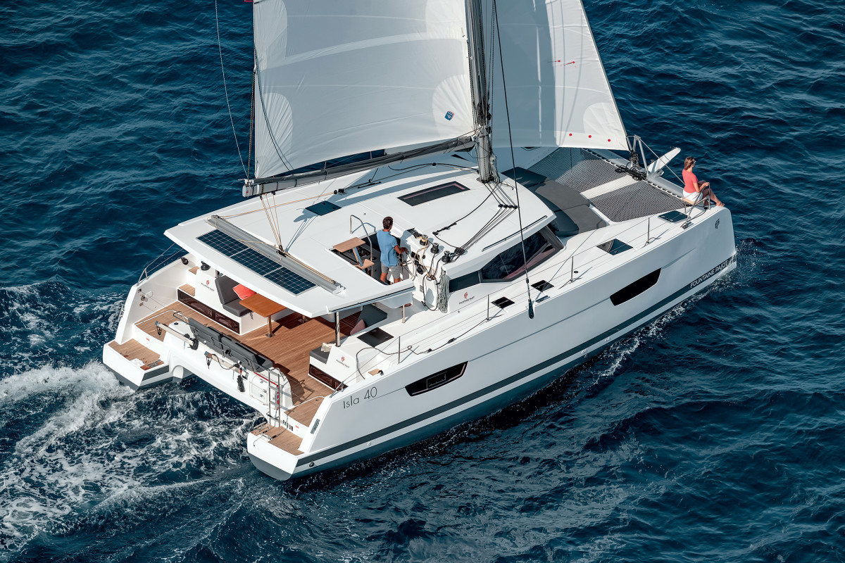 Multihulls like this Fountaine Pajot Isla 40 make great candidates for alternative drives