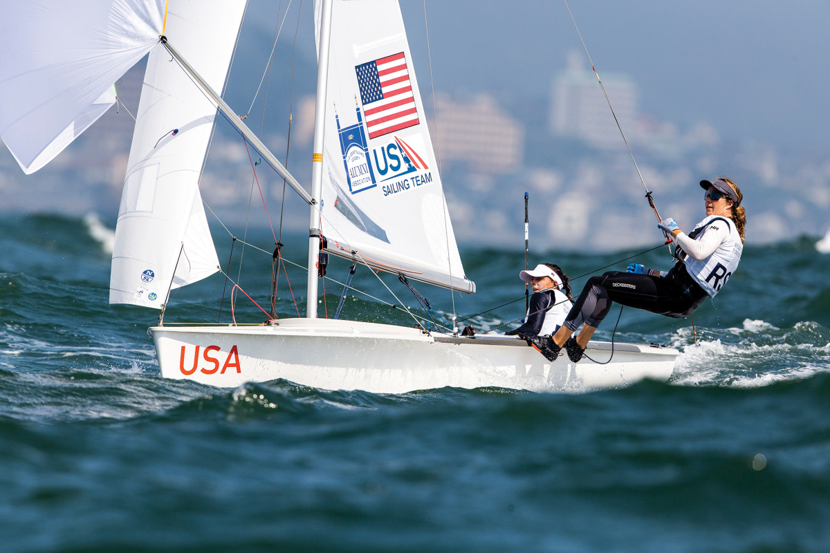 470 sailors Lara Dallman-Weiss (on the wire) and Nikki Barnes have improved dramatically in the past year