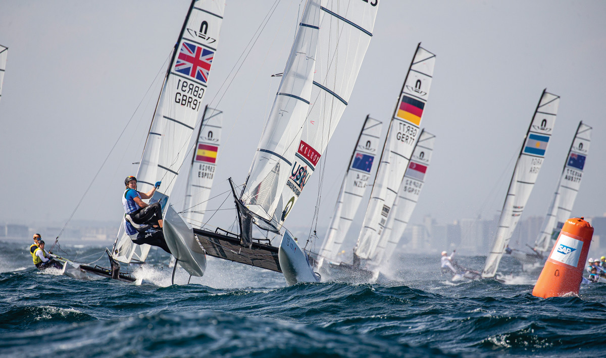 The U.S. Nacra 17 team leads the way during the 2019 Olympic Test Event off Enoshima
