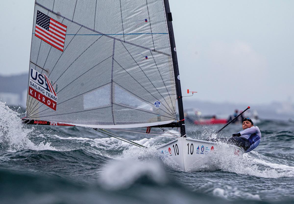 "U.S. Finn sailor, Luke Muller battles the ""gnarly"" conditions sometimes found off Enoshima"