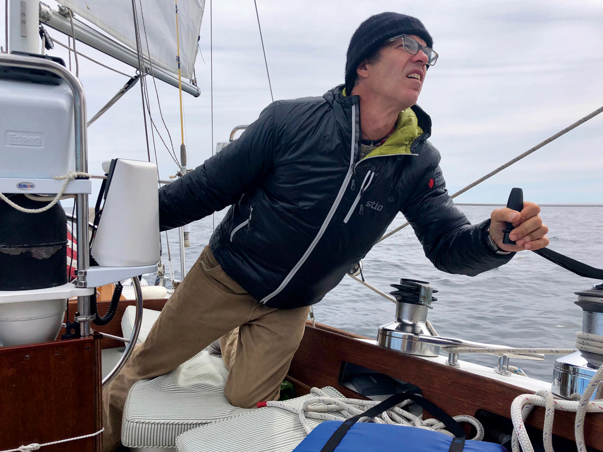 The author at the helm of Daydream—with plenty of water to maneuver in!