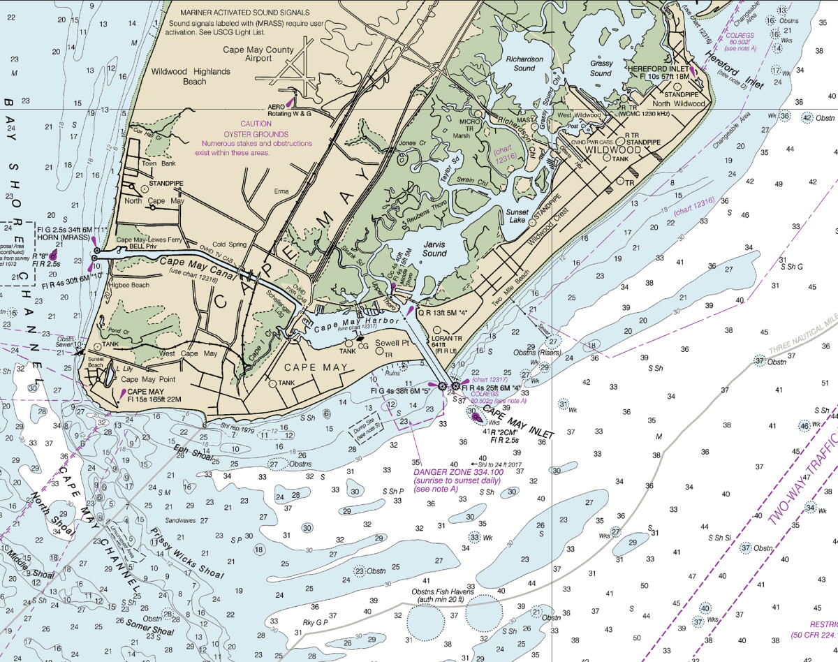 The Cape May Canal allows you to cut the corner inside the shoals guarding the entrance to Delaware Bay