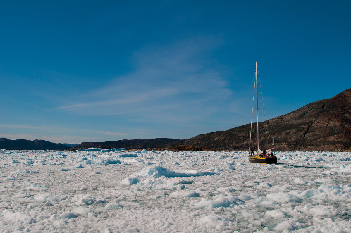 Bagheera perfectly at home in an ice-choked harbor;