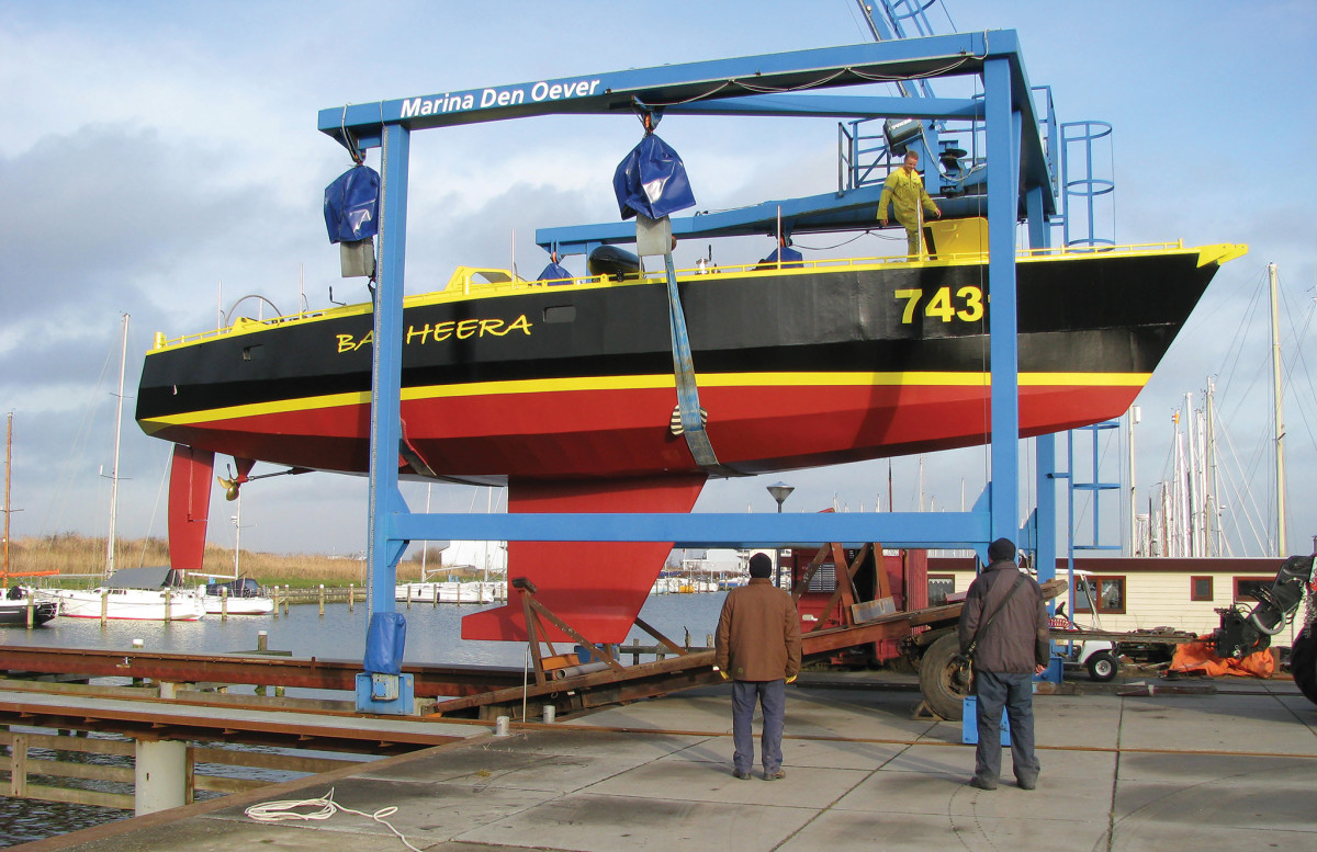 Launch day in the Netherlands: Bagheera's black hull and yellow decks maximize her visibility in bad weather