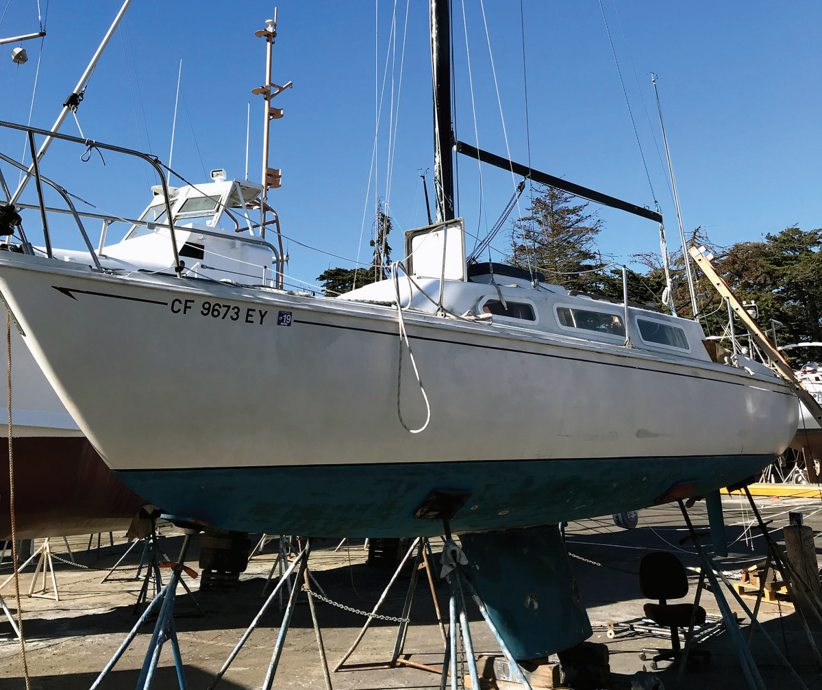 It was easier to do the deck work and work on the rubrail, in particular, with Shirley Rose still on the hard