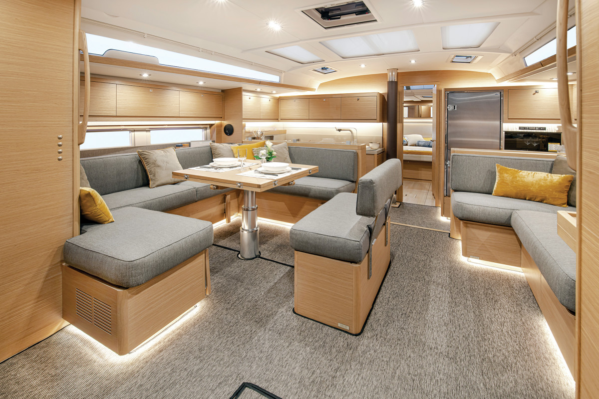 The forward galley straddles the passageway to the owner's cabin