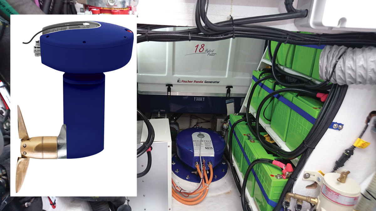 Two views of an Oceanvolt electric saildrive unit