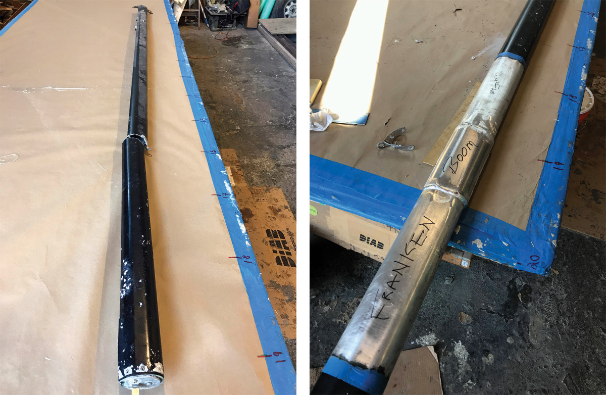"""The broken boom awaits repairs ashore (left);""""Franken Boom"""" in all its glory! (right)."""